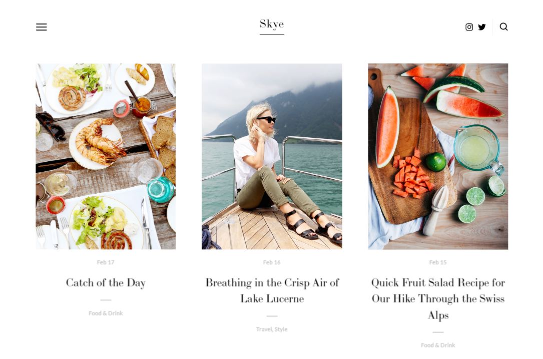 Skye template in Squarespace
