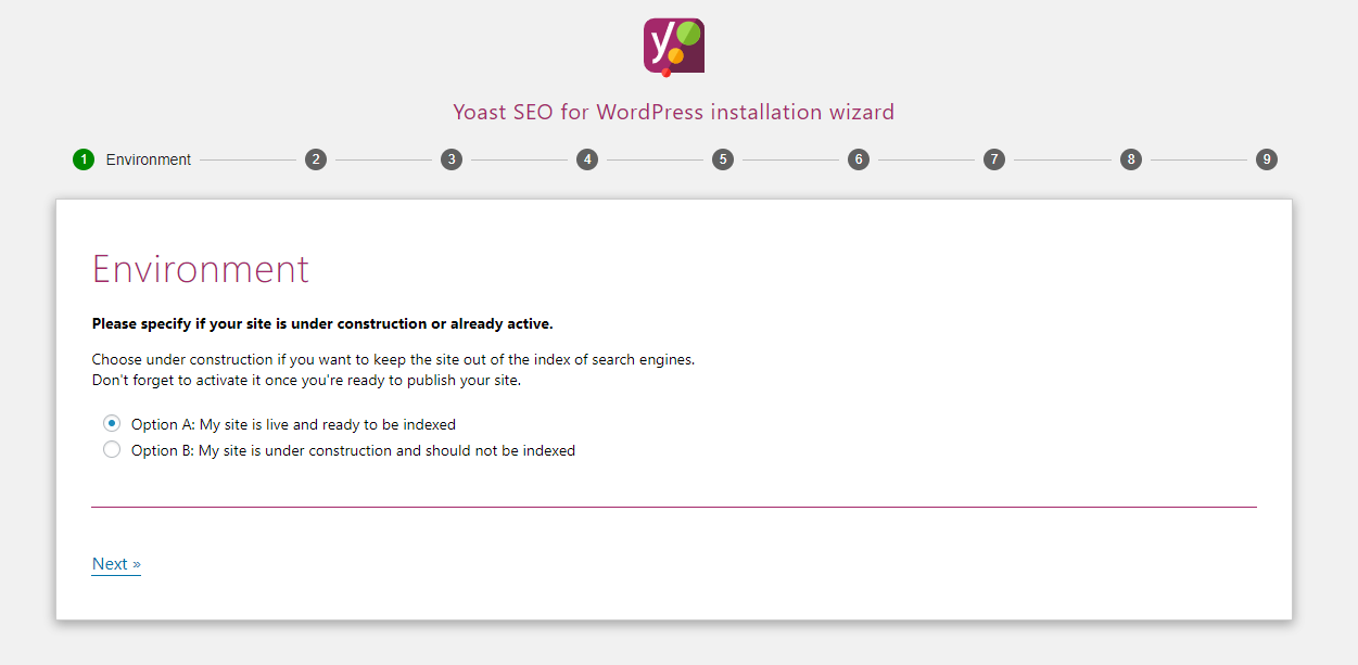 Yoast installation wizard