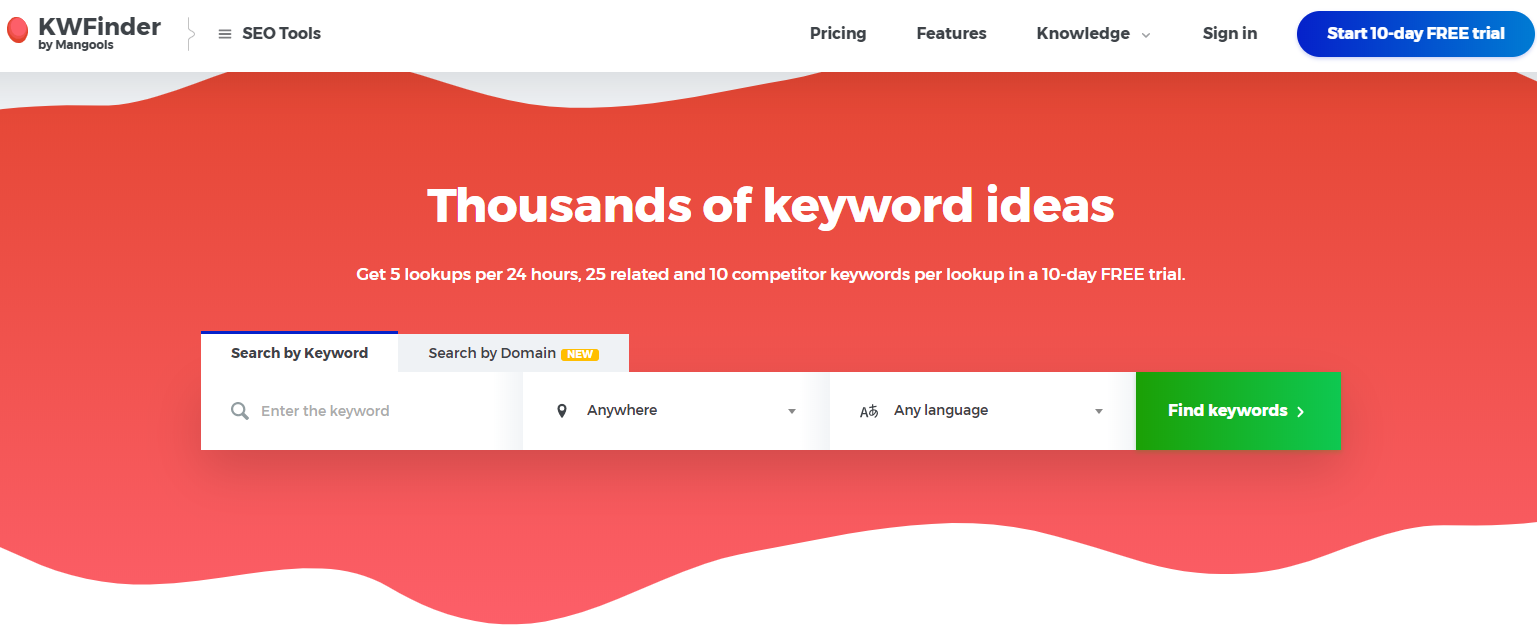 KWFinder by Mangools keyword search tool