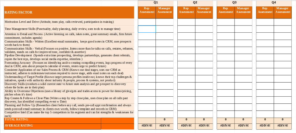 HubSpot and InsideSales.com Sales Performance Review Template