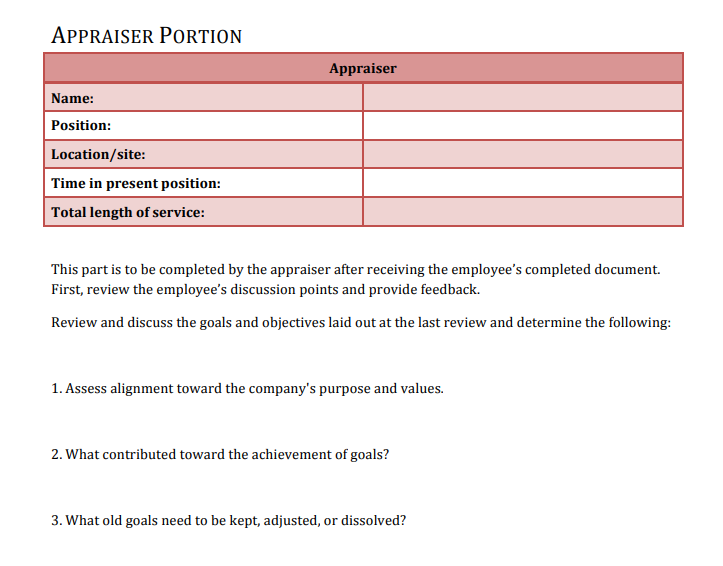 Criteria for Success Questionnaire-based Sales Performance Review Template