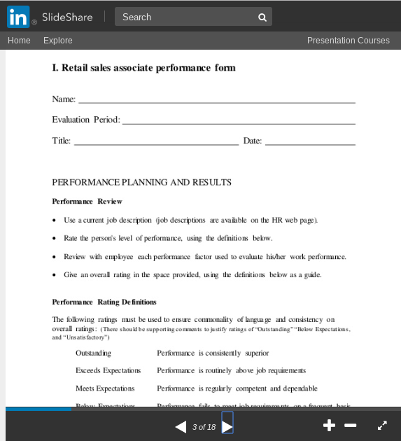 Retail Sales Associate Performance Review Template