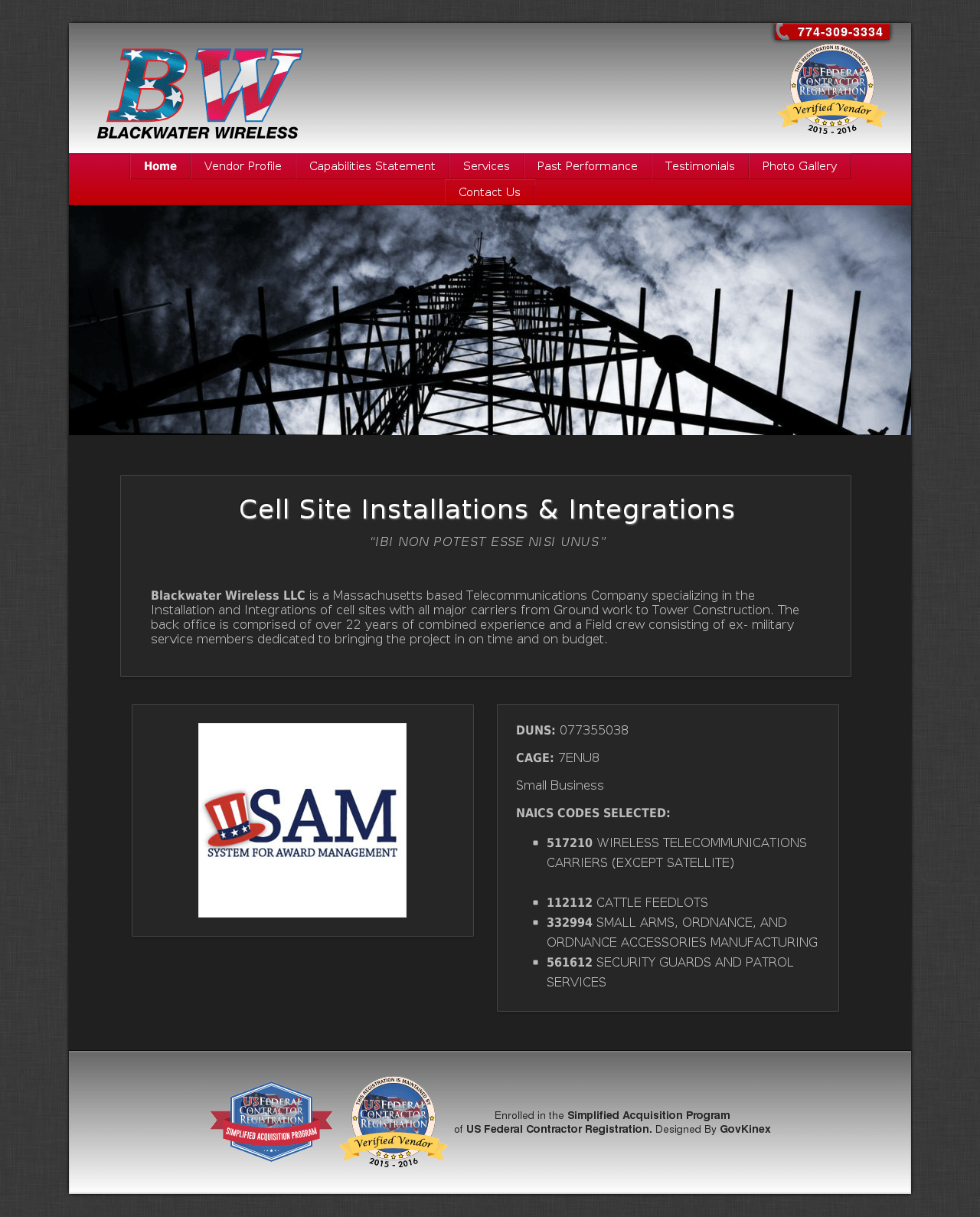 government contractor website example