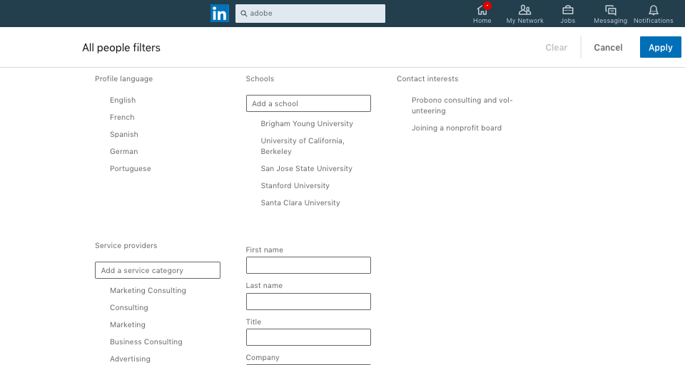 LinkedIn All People filters info-graphics