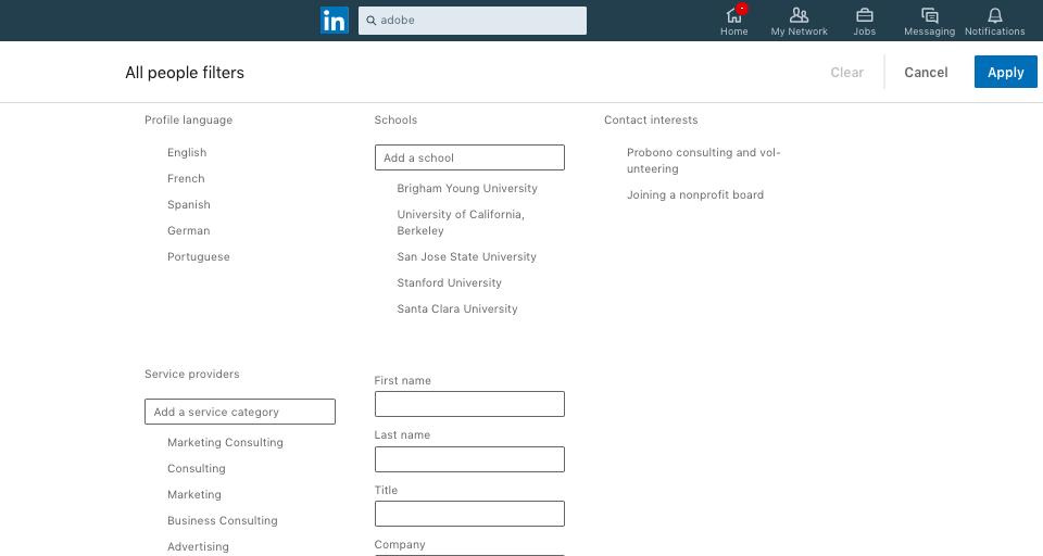 LinkedIn All People filtra info-grafica