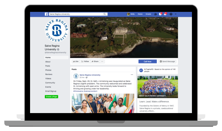 Example of a Facebook Business page desktop view image