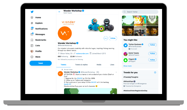 Example of a business profile on Twitter desktop view