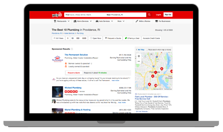 Example of a Yelp listing desktop view