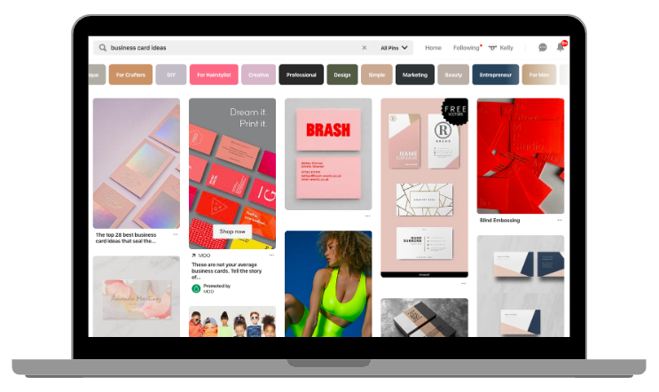 Example of Pinterest for business account - desktop view