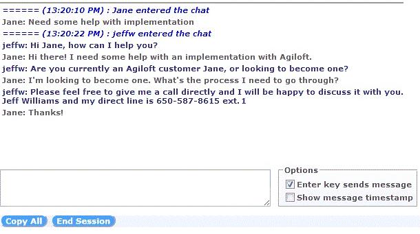 Agiloft chat integration