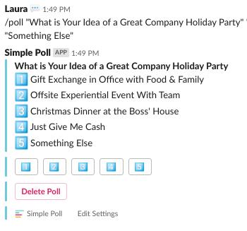 Sample poll built in Slack