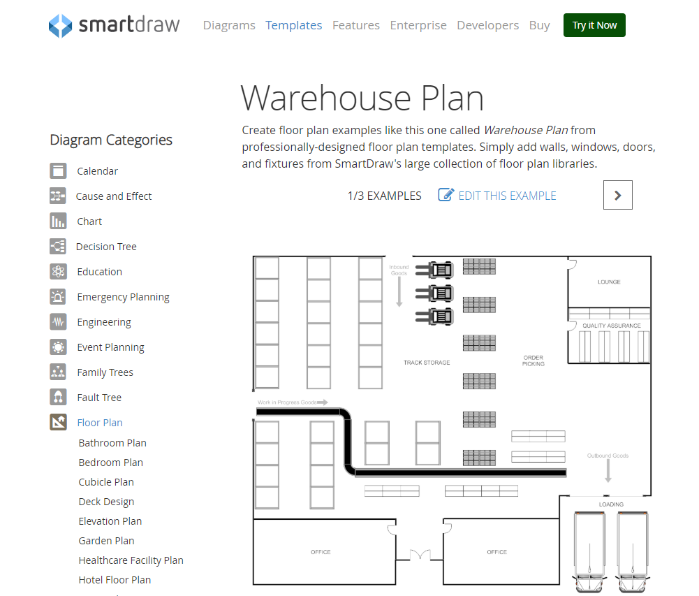 Example of a warehouse layout plan generated with SmartDraw