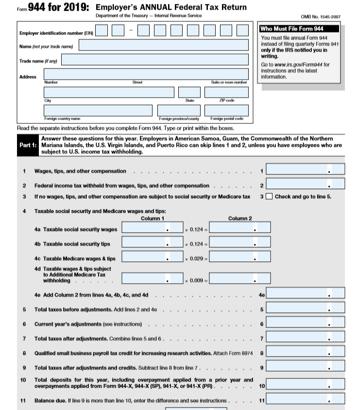 Sample of Form 944 - Employer's Annual Federal Tax Return