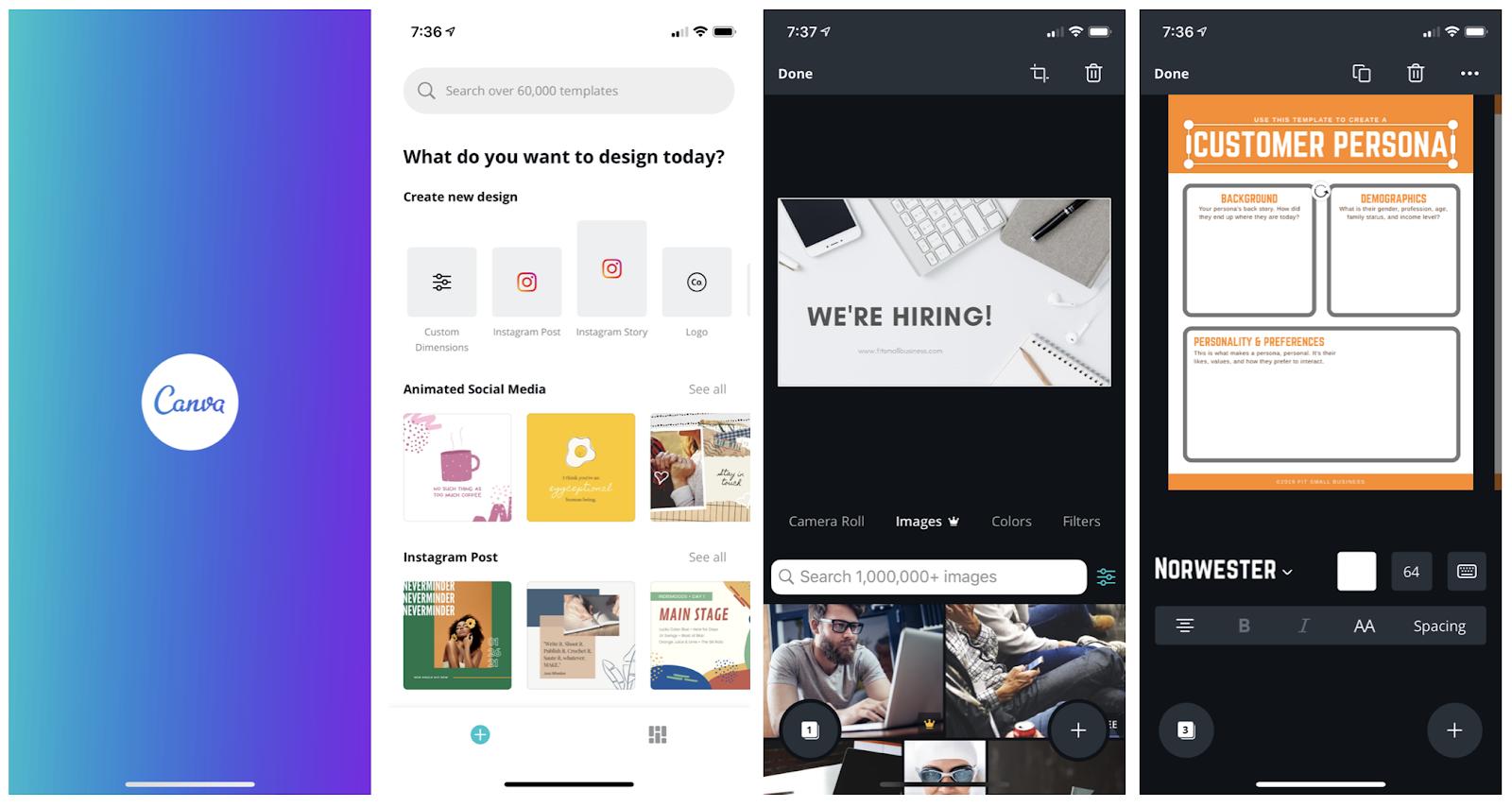 Canva mobile design app interface