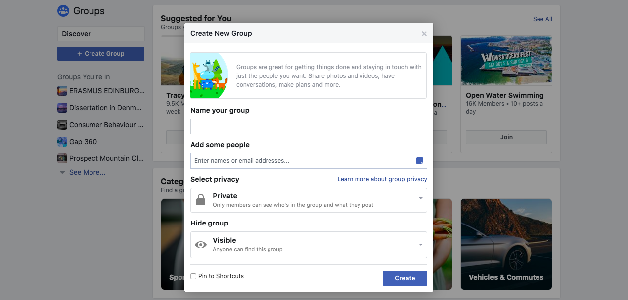 Create a New Group popup on Facebook