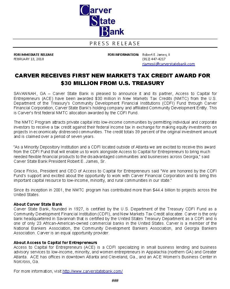 Example Award Press Release from Aces Loans