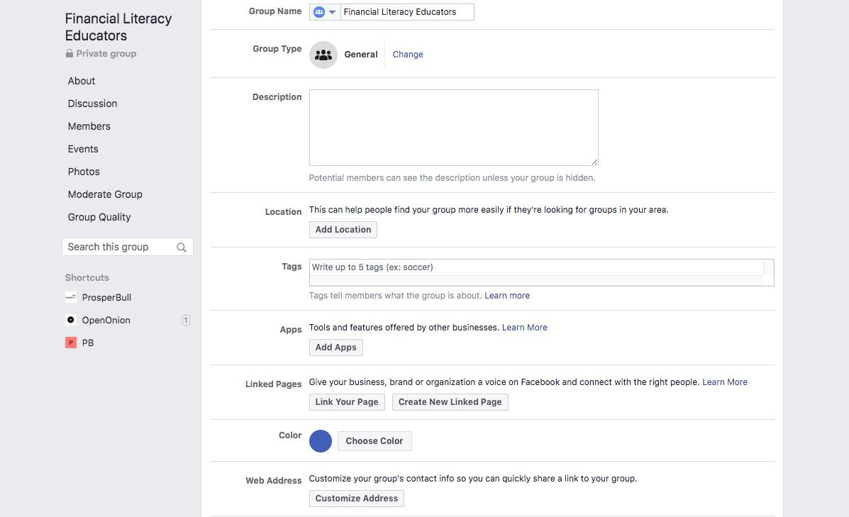 Facebook Group Settings tab