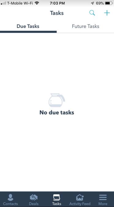 HubSpot CRM task screenshot