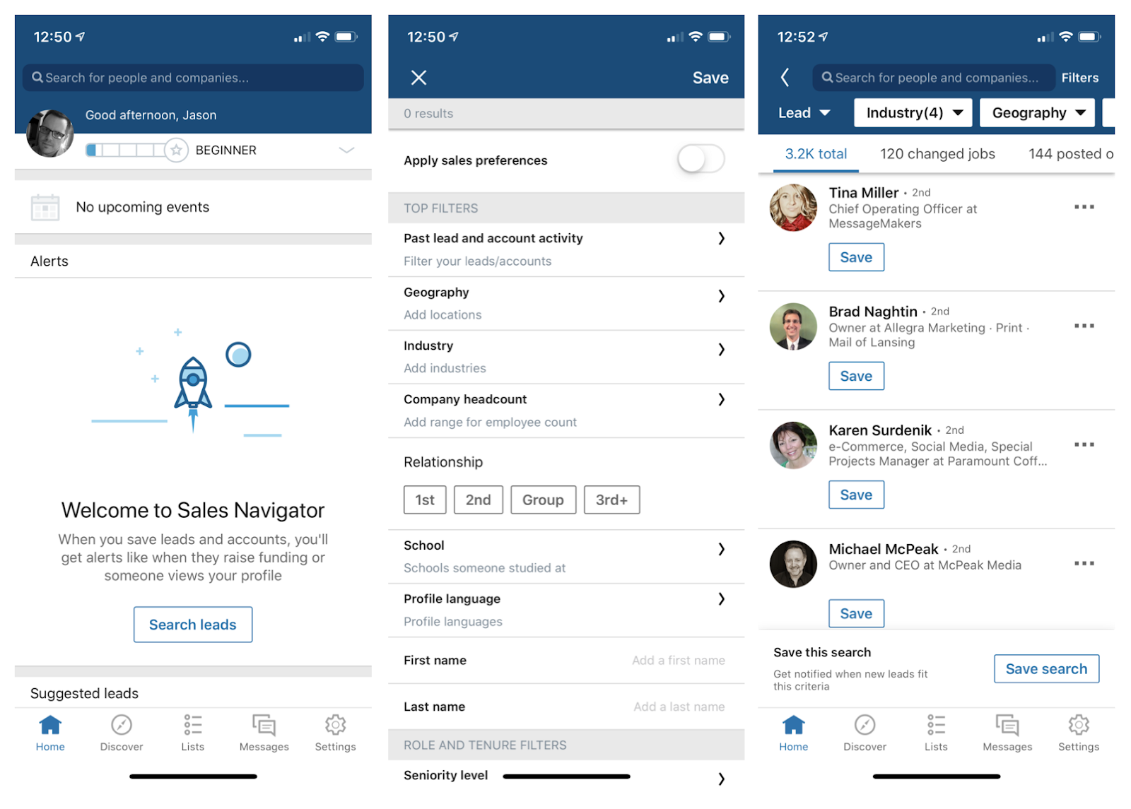 LinkedIn Sales Navigator Lead Search Interface