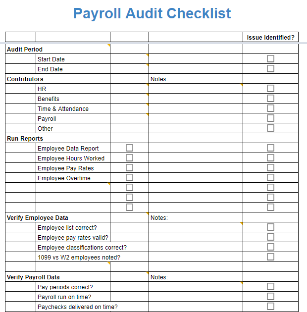 Payroll Audit Checklist