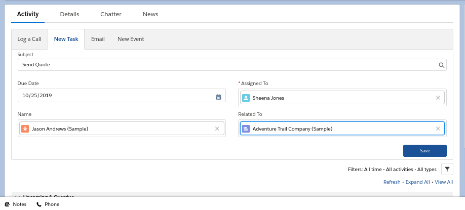 Salesforce Essentials task creation and assignment info-graphics