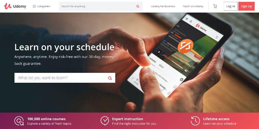 Screenshot of Udemy Homepage