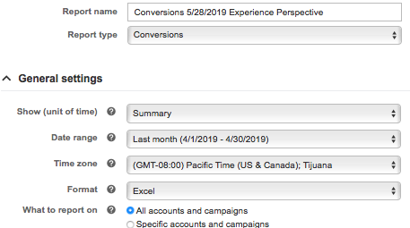 Filling out the conversion report settings form in Microsoft Advertising