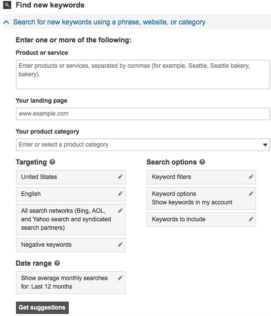 Searching keywords using Microsoft Advertising Keyword Planner - example