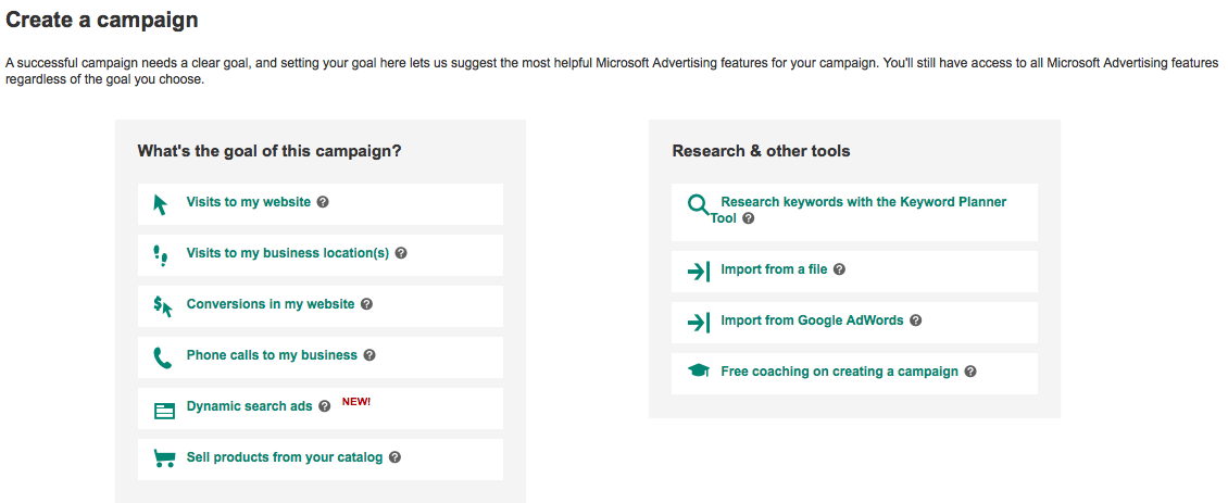 Microsoft Advertising goal options - info graphics