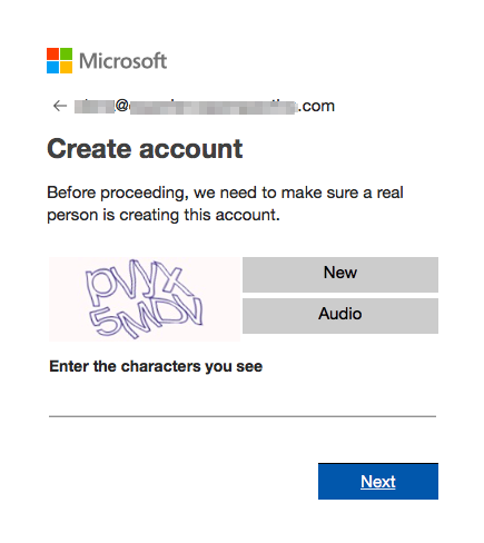 Example of a verifying that you're a person to open a Microsoft Advertising account