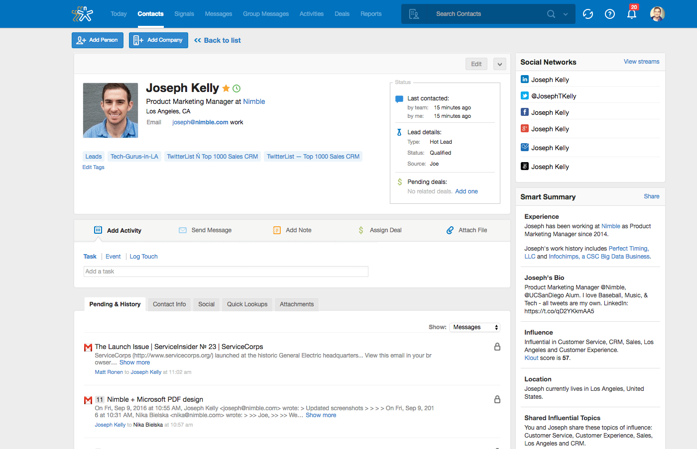 Contact management in Nimble