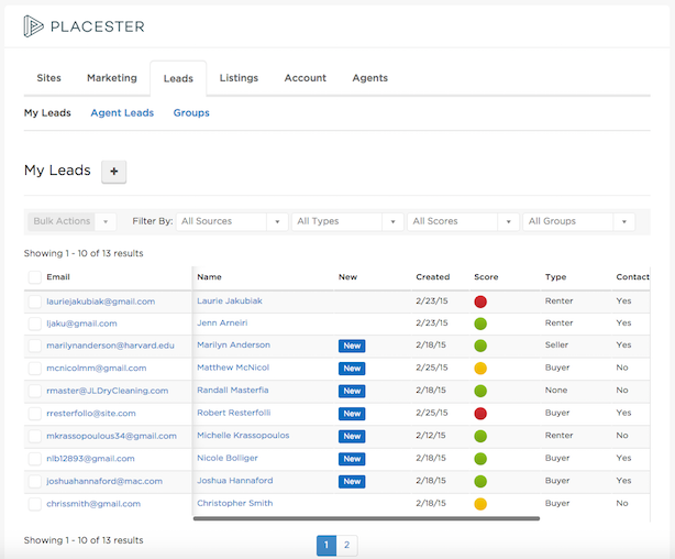 Placester lead management interface
