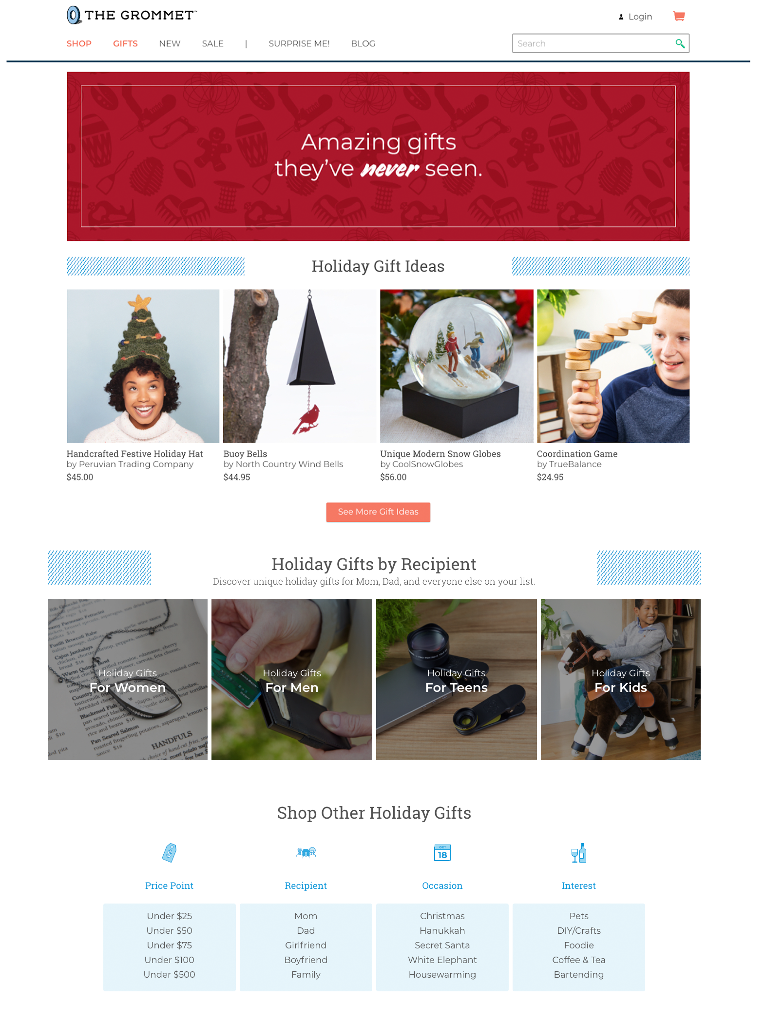 The Grommet's gift guide lets shoppers browse gift ideas by recipient, price point, and interest