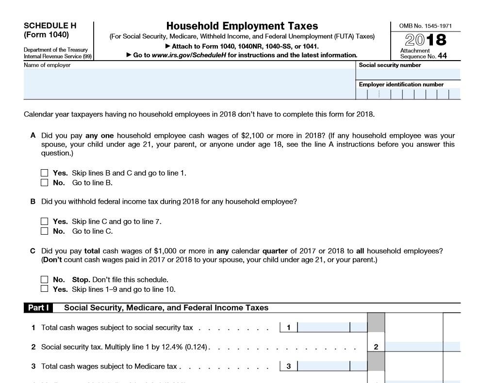 Sample of Schedule H - Household Employment Taxes