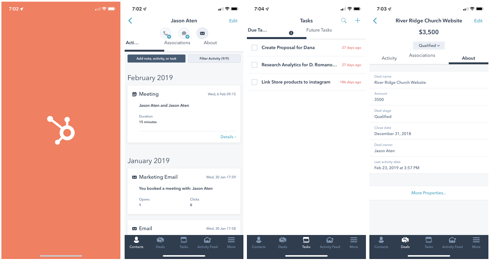 HubSpot mobile CRM app interface