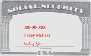 fake social security card