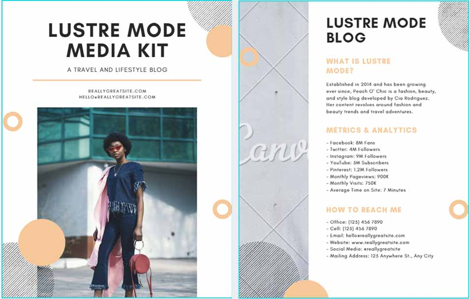 Media Kit Template for Blog or Website