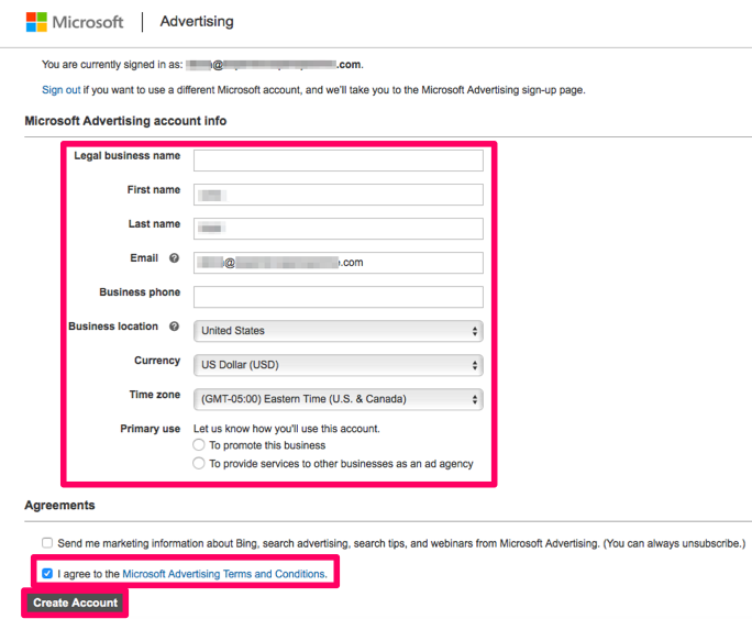 Opening a Microsoft Advertising account dashboard