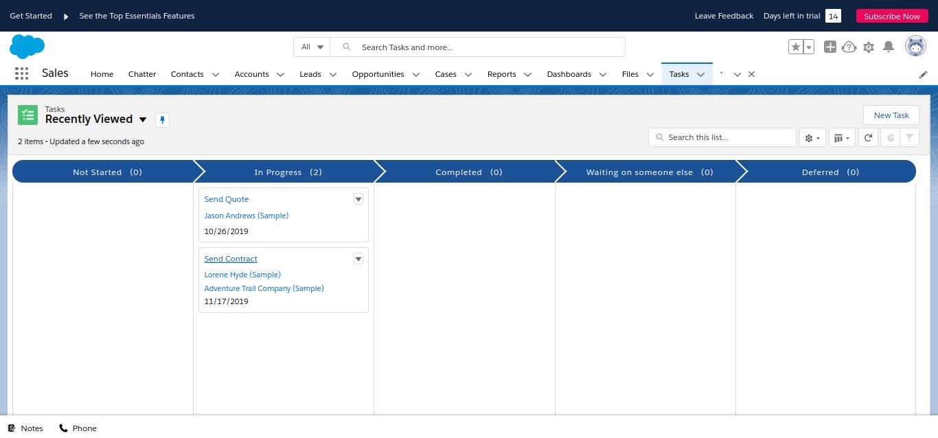 Salesforce Task management dashboard