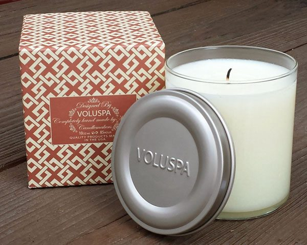 VOLUSPA white candle in a glass and its box