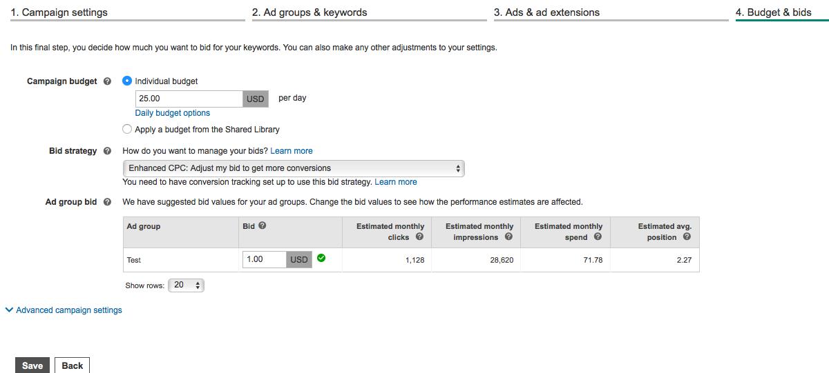 Setting bids in Microsoft Advertising - screenshot example