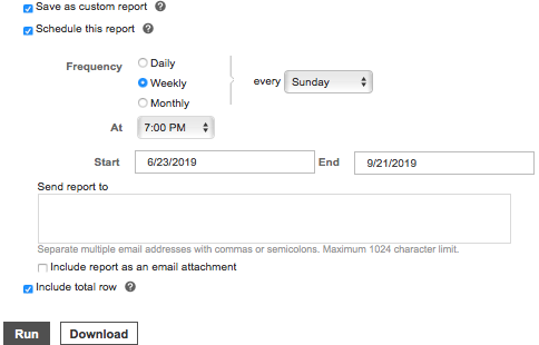 Setting report run timing in Microsoft Advertising - dashboard