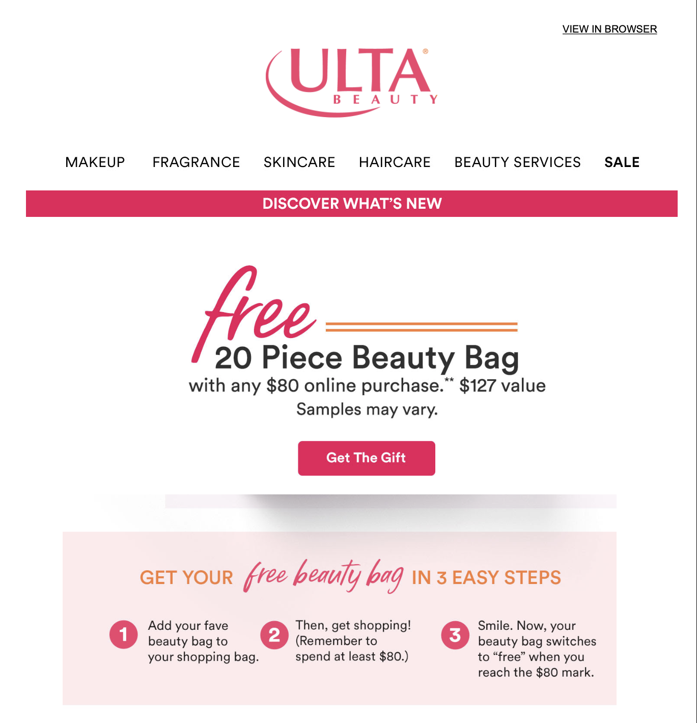 example of Ulta Beauty's sale offer