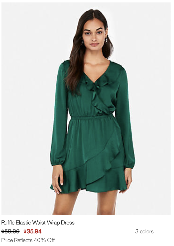 girl in a green dress (Example of a clearly labeled 40 percent off promotion from Express