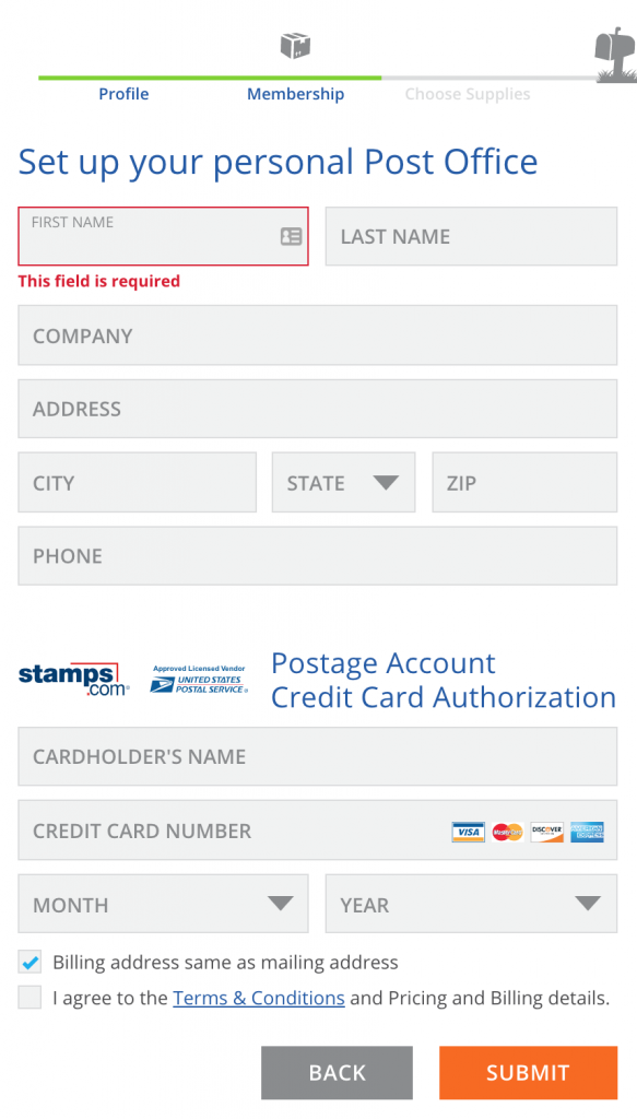 Set up your personal Post Office form of Stamp.com