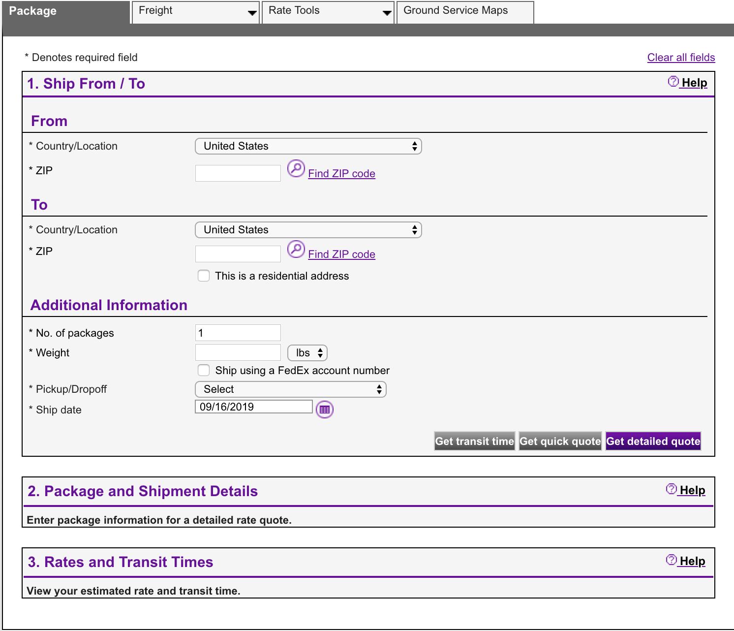 FedEx has a shipping calculator sample