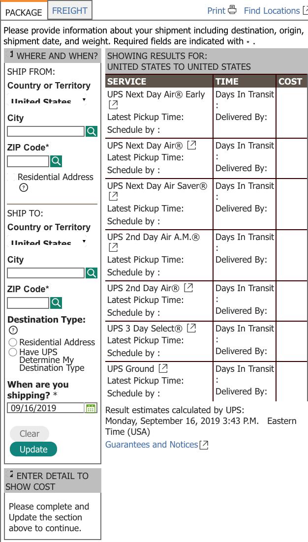 UPS shipping calculator sample