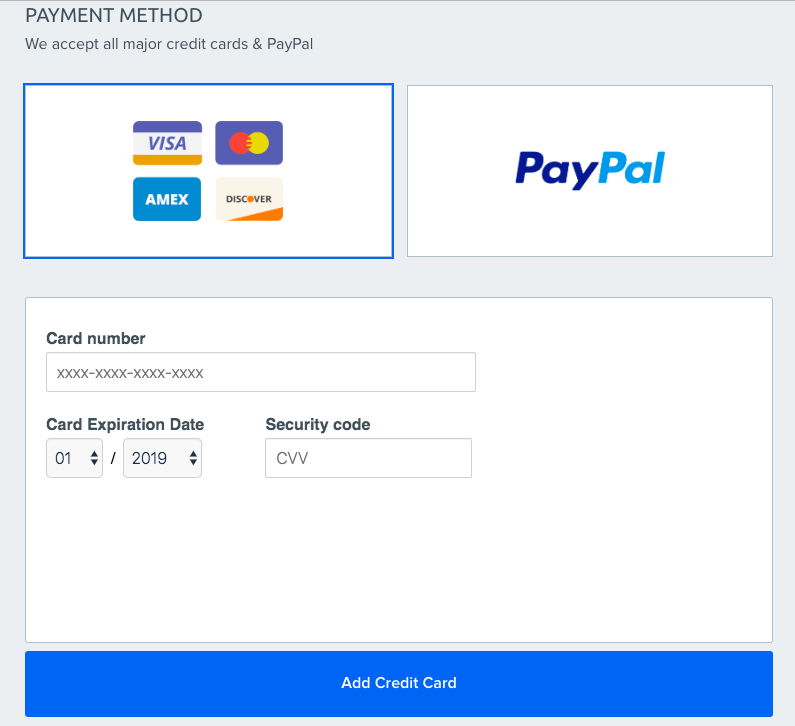 Selecting payment method in Dreamhost