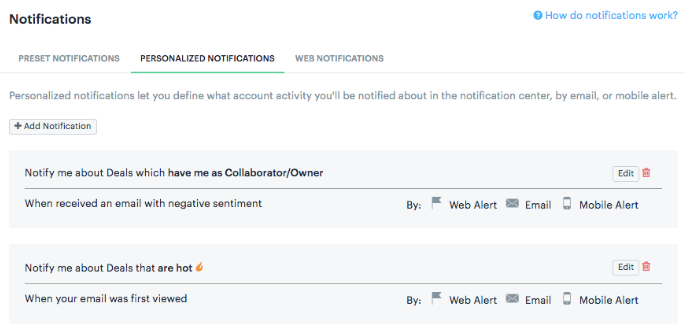 Personalized Notification Tab settings