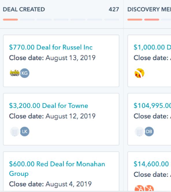 HubSpot CRM's List of Deals